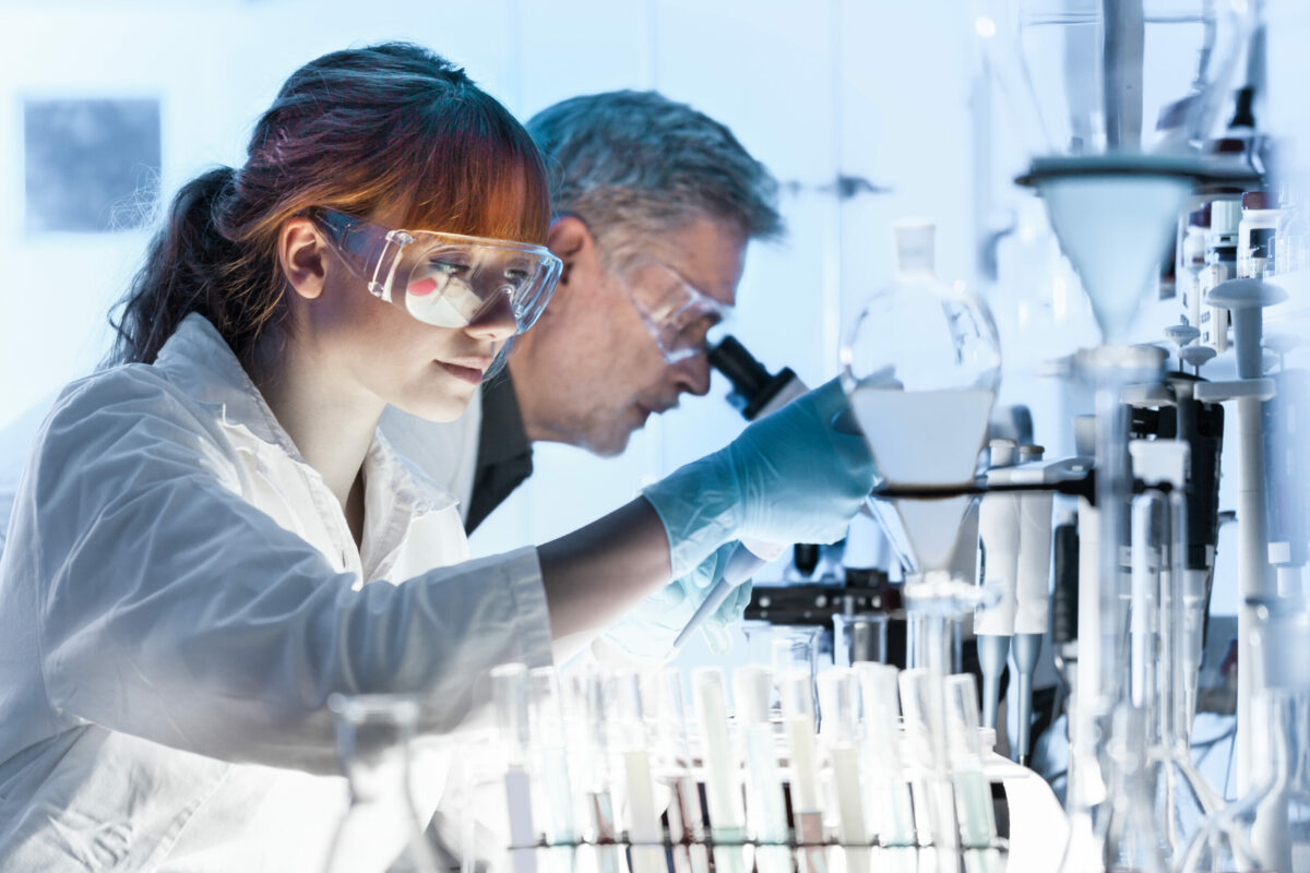 two laboratory scientists